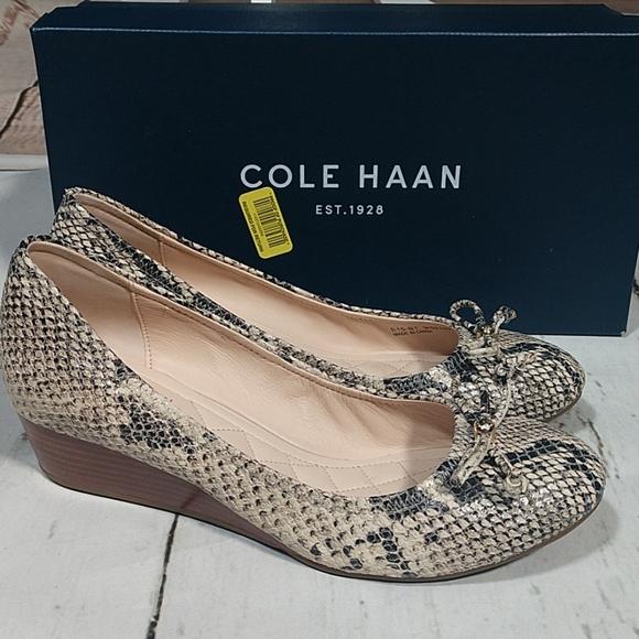 Cream Snake Print//Cork Cole Haan Womens Air Tali Lace Wedge 9.5 B-Medium